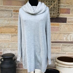 White Stag Gray Cowl Neck Long Sweater